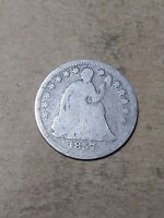 1857 P LIBERTY SEATED HALF DIME 90  SILVER US COIN G M126 OLD