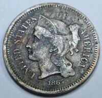 1867 US THREE CENT NICKEL PIECE 3 PENNY OLD ANTIQUE USA CURRENCY MONEY U.S. COIN