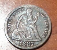 1887 U.S. SEATED DIME - HIGH END & NATURAL