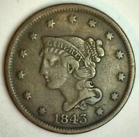 1843 BRAIDED HAIR LARGE CENT COPPER US COIN VF