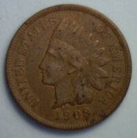 1909 INDIAN HEAD COPPER US CENT ONE CENT TYPE COIN PENNY INDIANHEAD FINE