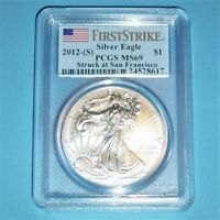 2012-S  AMERICAN SILVER EAGLE MINT STATE 69 PCGS FIRST STRIKE