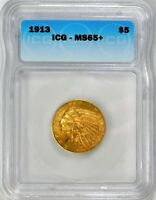 1913 $5.00 GOLD INDIAN - ICG MINT STATE 65