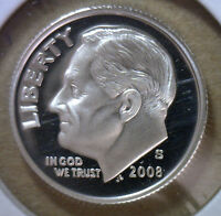 2008 S SILVER PROOF ROOSEVELT DIME TEN-CENT COIN 10C FROM US MINT PROOF SET