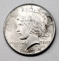 MINT ERROR STRIKE THRU ON 1934-P VAM-1A ELITE 30 SILVER PEACE DOLLAR  COIN