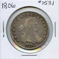 1806 POINTED 6 WITH STEM, DRAPED BUST SILVER HALF DOLLAR. CIRCULATED. LOT 2300