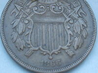 1866 TWO 2 CENT PIECE- CIVIL WAR TYPE COIN- VF/EXTRA FINE  DETAILS, PARTIAL WE