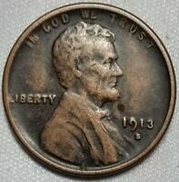 1913 S EXTRA FINE  EF LINCOLN WHEAT CENT - 8005-3