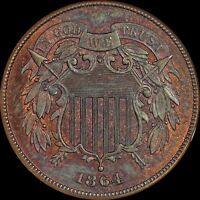 LY TONED 1864 LARGE MOTTO 2 CENT PIECE NGC MINT STATE 65RB