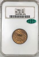 1864 2 CENT PIECE NGC MINT STATE 64RB CAC