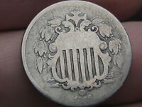 1866 SHIELD NICKEL 5 CENT PIECE WITH RAYS- GOOD/VG DETAILS