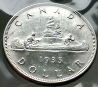1935 CANADA SILVER ONE DOLLAR COIN $1.00   VINTAGE CANADIAN
