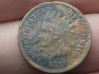 1865 INDIAN HEAD CENT PENNY- FANCY 5, VF DETAILS, PARTIAL LIBERTY