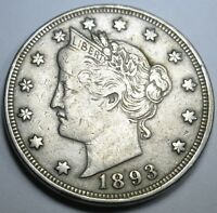 1893 EXTRA FINE  US 5 CENT LIBERTY NICKEL CURRENCY ANTIQUE OLD U.S. COLLECTION COIN