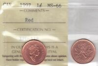 1997 ICCS MS66 1 CENT RED CANADA ONE PENNY
