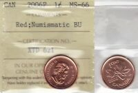 2006P ICCS MS66 NBU  PL BU MS NC  1 CENT  MAGNETIC  RED CANADA ONE PENNY