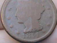 1851 BRAIDED HAIR LARGE CENT PENNY OLD TYPE COIN