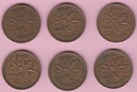 CANADIAN PENNY FOREIGN COIN LOT OF CIRCULATED OLD COINS