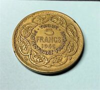 1946 TUNISIA 5 FRANCS COIN PIECE  SHARP DETAIL   FRENCH TERRITORY FRANCE