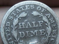 1857 SEATED LIBERTY HALF DIME VG DETAILS FULL DATE