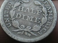 1857 P SEATED LIBERTY HALF DIME  VG DETAILS