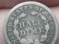 1853 P SEATED LIBERTY HALF DIME  WITH ARROWS GOOD/VG DETAILS