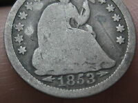 1853 P SEATED LIBERTY HALF DIME WITH ARROWS FULL DATE