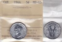 1944 ICCS MS65 5 CENTS CANADA FIVE NICKEL