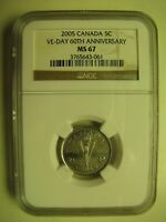 2005P NGC MS67 5 CENTS VE DAY 60TH ANNIVERSARY  VICTORY  CANADA FIVE NICKEL