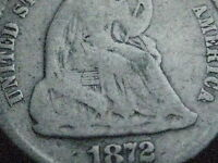 1872 SEATED LIBERTY HALF DIME  OLD TYPE COIN