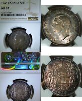 TONED   1946 CANADA 50 CENTS  NGC MS2