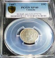 PCGS MS40 XF 1887 CANADA 10 CENTS  7/7 VARIETY