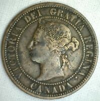 1882 H CANADIAN COPPER BRONZE LARGE CENT COIN CANADA ONE CENT FINE 16