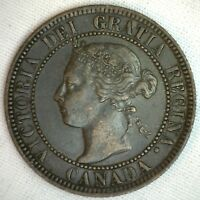 1893 COPPER CANADIAN LARGE CENT COIN 1 CENT CANADA XF 1