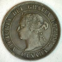 1893 COPPER CANADIAN LARGE CENT COIN 1 CENT CANADA XF 3