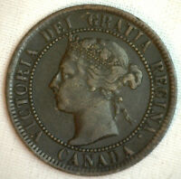 1893 COPPER CANADIAN LARGE CENT COIN 1 CENT CANADA FINE 7