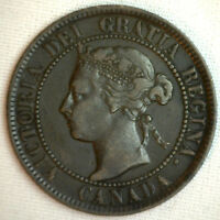 1893 COPPER CANADIAN LARGE CENT COIN 1 CENT CANADA VF 10