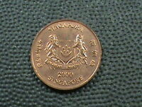 SINGAPORE 1 CENT  2000 UNCIRCULATED   $ 2.99  MAXIMUM  SHIPPING  IN  USA