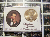 LINCOLN PRESIDENTIAL DOLLAR WITH LINCOLN STAMP IN SNAP LOC CASE