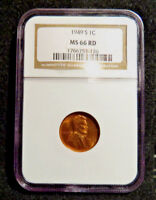 1949-S 1C LINCOLN CENT NGC MINT STATE 66 RD