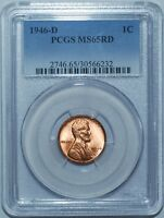 1946 D PCGS MINT STATE 65RD LINCOLN WHEAT CENT