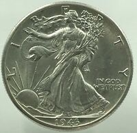 1943-D WALKING LIBERTY 90 SILVER US HALF DOLLAR  XX 035
