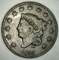 1833 CORONET LARGE CENT US COPPER TYPE COIN FINE NEWCOMB VARIETY N5 M7 PENNY
