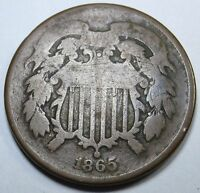 1865 ROTATED REVERSE US TWO CENT PIECE ANTIQUE U.S. 2 PENNY CURRENCY COIN MONEY