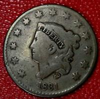 ANTIQUE COLLECTOR COIN1831 MEDIUM LETTERS LARGE CENT N-3 VG B598