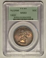 1920 PILGRIM SILVER COMMEMORATIVE HALF DOLLAR PCGS MINT STATE 63 OGH : LIGHT TONING