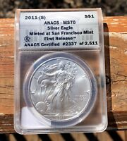 2011 S AMERICAN EAGLE SILVER COIN - ANACS MS 70 FIRST RELEASE - 2337 OF 2511