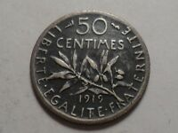 1919  FRANCE 83.5 SILVER 50 CENTIMES MINTAGE 24,299,000