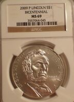 2009 P LINCOLN BICENTENNIAL SILVER $1 MS69 NGC