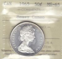 1965 ICCS MS65 50 CENTS HEAVY CAMEO CANADA FIFTY HALF DOLLAR SILVER
